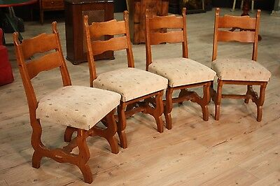 GROUP 4 CHAIRS CARVED RUSTIC WOOD OAK PERIOD HALF' '900 (H 93 cm)