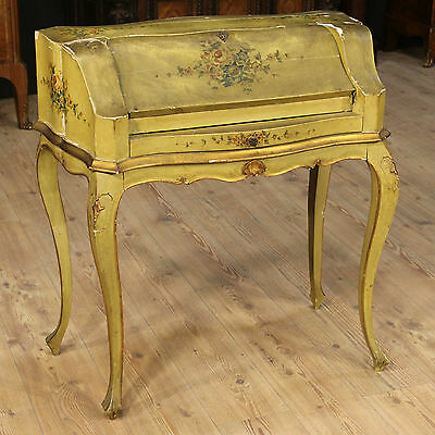 Fore Secretary Desk Lacquered Furniture Hand Painted Italy Venice Period '900 H