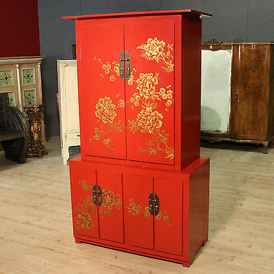 Grande Cupboard Double Body Lacquered Painted Chinoiserie Chinese Period '900 H