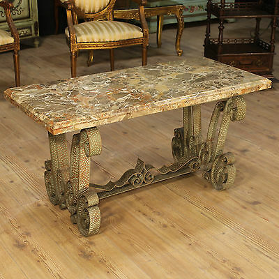 Bedside low table metal marble top furniture design italian antique style 900 XX
