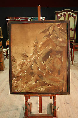 Painted spanish oil painting on linen frame paesaggio trees pines antique style