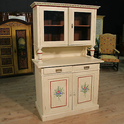 LOVELY CUPBOARD DOUBLE BODY SHOWCASE WOOD PAINTED BLOSSOM PERIOD '900 (H 177 cm)
