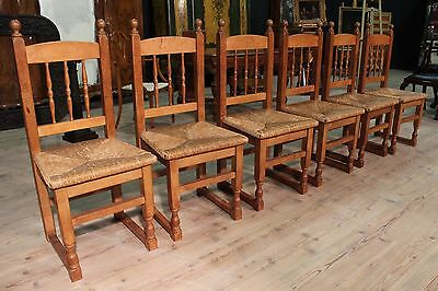 Group 6 chairs rustic armchair wood oak straw woven antique style furniture 900