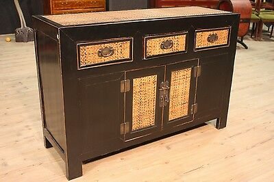 Bella Cupboard Two Panels Three Drawers Lacquered Black Chinese Period '900 L