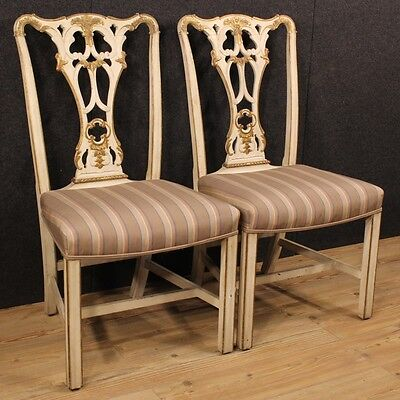 Pair chairs lacquered golden armchairs furniture wood antique style 900 stools