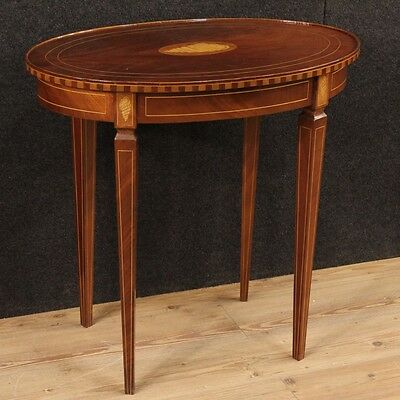 Small Table English Inlaid Shell Table Living Room Mahogany '900 Side Table