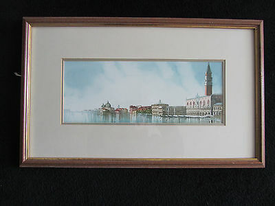 original framed and glazed watercolour of venice indecintly signed