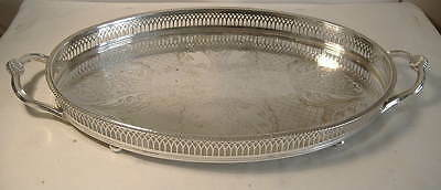 Silver Plated Oval, Twin Handled Gallery Tray - 19 Ins.