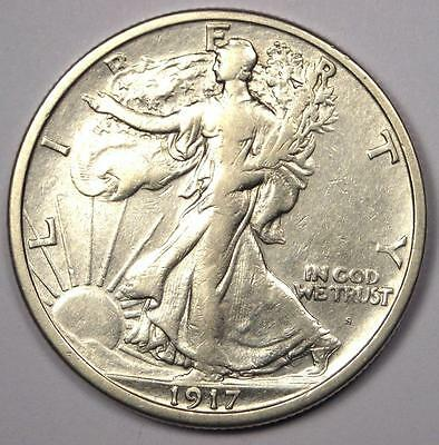 1917-S Obverse Walking Liberty Half Dollar 50C - XF/AU Details - Rare Date Coin!