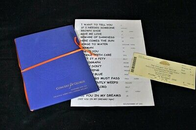 Concert for George Programme - ticket and rehearsal set list
