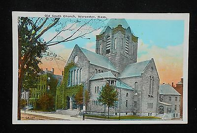 1920s Old South Church Worcester MA Postcard Massachusetts