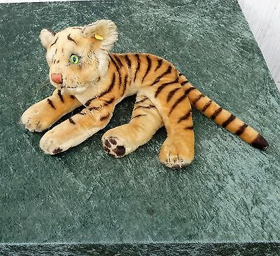 """Genuine 1960´s Steiff TIGER - Esso """"Put a Tiger in your Tank"""". Bright Green Eyes"""