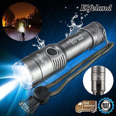 15000LM Elfeland T6 LED Zoomable Focus Flashlight Military Tactical Torch Lamp