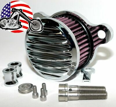 Chrome Billet Air Intake Filter Cleaner Finned Ribbed Stage 1 Harley Sportster