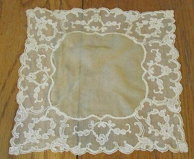 Romantic French Tambour NET Lace Wedding Handkerchief