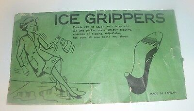 VINTAGE Ice Grippers for Shoes Package Advertisement 1950's