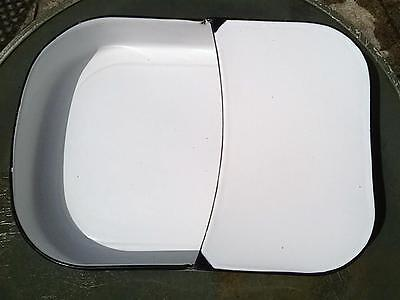 "Vtg PORCELAIN ENAMEL WHITE & BLUE FRACTURE BED PAN CHAMBER POT 11"" x 15"""