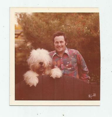 1973 Old English Sheep Dog Photo With Proud Owner Man Dated On Back Nov 73