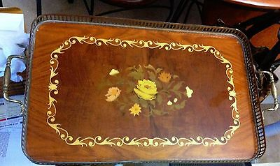 "Vintage Brass Laquer Marquetry Wood Floral Serving Tray Italy 20 x 13"" rectangle"