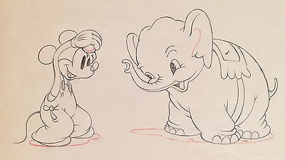 1936 Walt Disney Mickey Mouse Elephant Original Production Animation Drawing Cel