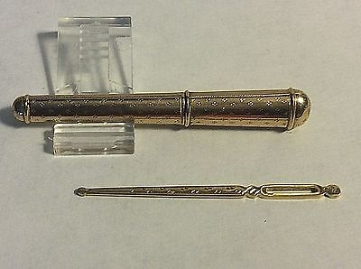 Antique 18k Yellow Gold French Needle Case & Bodkin Etui Sewing  #423