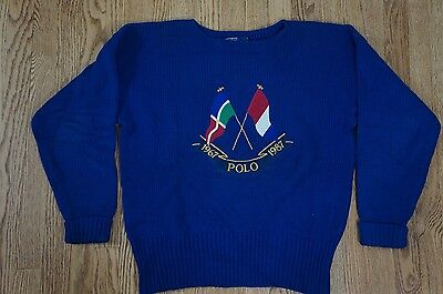 Rare VTG Ralph Lauren Polo 1987 87 Cross Flags Sweater Blue Knit