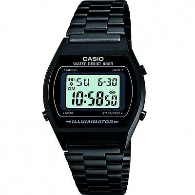 Casio Retro Illuminator Digital Black Stainless Steel 50M B640WB-1AEF Watch