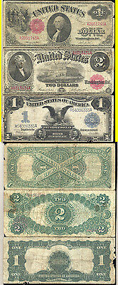 Lot Of 3 Large Size Notes- 1899 $1.00-1917 $1.00-1917 $2.00- No Reserve