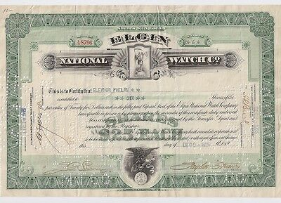 Elgin National Watch Co.........1925 Stock Certificate