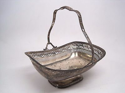 Vintage Sterling Silver 8976 Pierced Footed Basket Dish w/ Handle 477.4 Grams