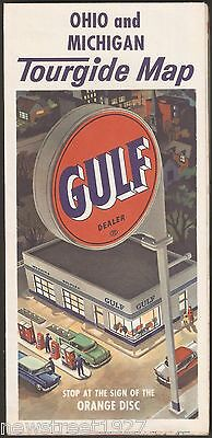 Vintage Gulf Oil Tourguide Road Map 1963 Ohio and Michigan