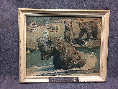 Seagrams 7 Alaskan Brown Bears Print On Canvas Bob Kuhn Seagram Collection 1960s