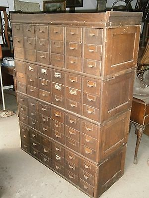 Antique Vintage Oak Library Card Catalog File Cabinet 72 Drawer Globe Stacking