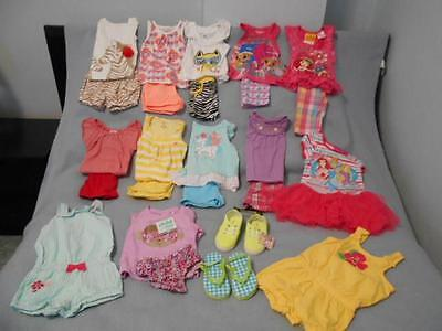 24 Pc Mixed Lot Toddler Girl Size 2-2T Used Summer Clothing