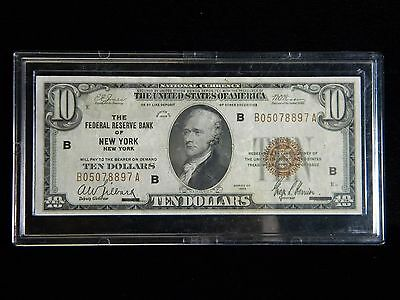 1929 $10 National Currency***frb Of New York***ungraded***ecch