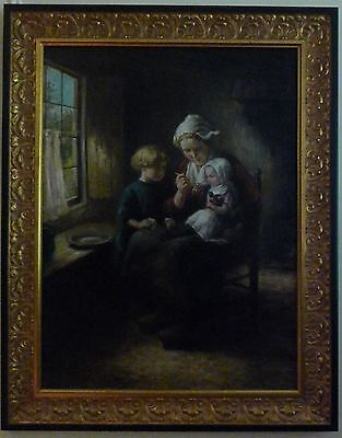 "Early 20th Century Large ""Dutch Mother and Children"" Signed Museum Quality Frame"