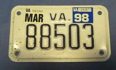 1998 Virginia Motorcycle License Plate