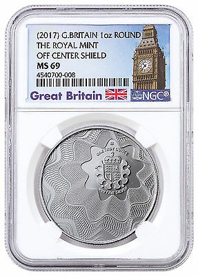 (2017) Britain Royal Mint Off Center Shield 1 oz. Silver Round NGC MS69 SKU46573