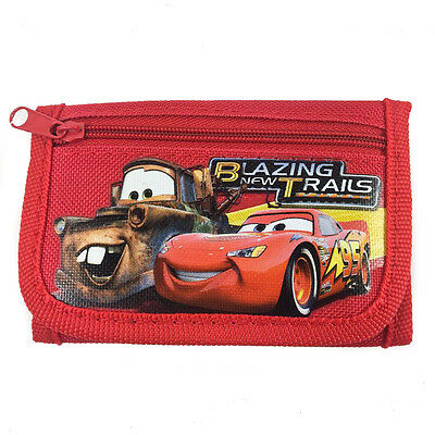 Disney Cars Mc Queen Children boy's Tri Fold Wallet Color Red