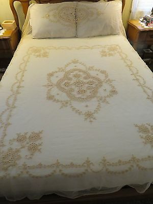 Vintage Antique Net Tambour Lace Embroidered Coverlet