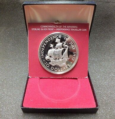 Bahamas 1973 Independnce Day $10 PROOF Coin .925 Sterling Silver - MM555