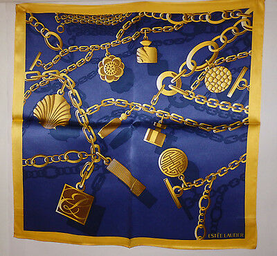 "Estee Lauder  Silk Scarf - 21"" X 21""  Gold Chains Design"