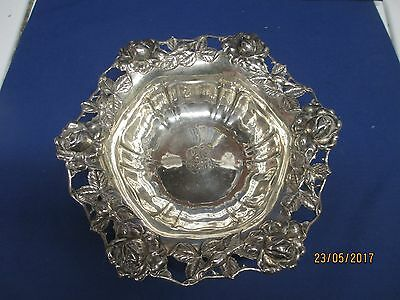 Ornate Unger Bros. Sterling Silver Bowl, Repousse' Roses, Buds & Foliage