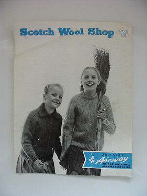 Vintage 1960s Scotch Wool Shop Knitting Pattern 952 Cardigan and Jumper 22-32in
