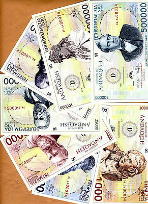 SET, Nation of Andaqesh, 2014, 7 banknotes, Private Limited Issue, UNC