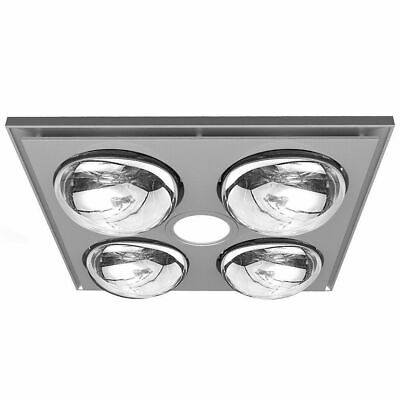 Heller 3 in 1 Ceiling Bathroom Exhaust Fan w/Heater Heat Globes/LED Light Silver