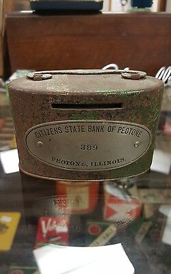 Vintage Citizens State Bank Of Peotone Coin Bank Piggy Bank
