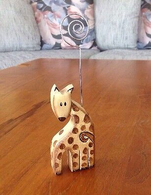 Hand Carved Wooden GIRAFFE Figurine Picture Holder Photo Display