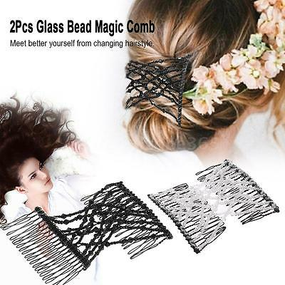 2Pcs Glass Bead Magic Comb Elastic Double Insert Clips  Hair Accessory D7Z1