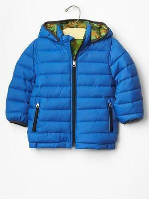 Baby GAP Size 18-24 Mo NEW Reversible Puffer Jacket Coat Hooded Blue Camo